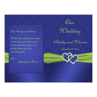 Azul real y programa chartreuse del boda del damas tarjeta publicitaria