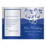 Azul real y programa floral de plata del boda flyer personalizado