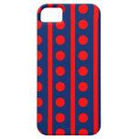 Azul real y rayas y puntos del rojo iPhone 5 cárcasa