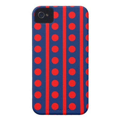 Azul real y rayas y puntos del rojo iPhone 4 Case-Mate cobertura