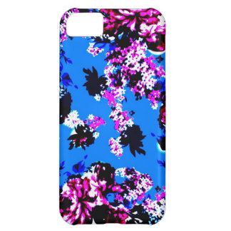 Azul real y rosa del estampado de flores del vinta funda para iPhone 5C