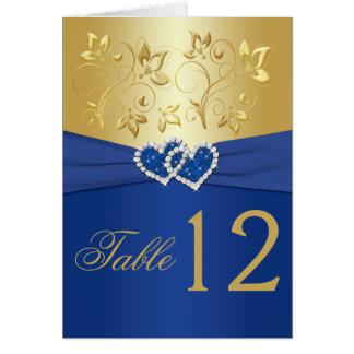 Azul real y tarjeta floral del número de la tabla