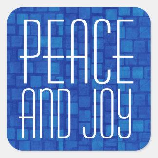 Azul real y tipografía de la paz y de la alegría pegatina cuadrada