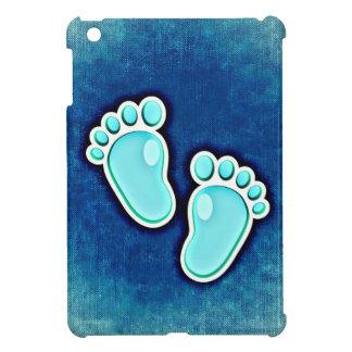 azul recién nacido de las huellas del bebé del