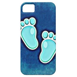 azul recién nacido de las huellas del bebé del iPhone 5 carcasa