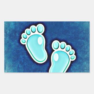 azul recién nacido de las huellas del bebé del pegatina rectangular