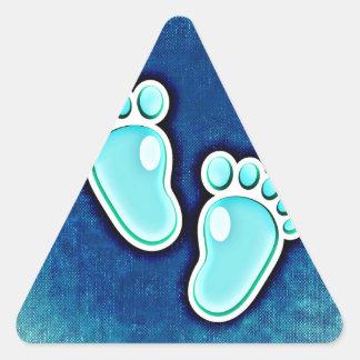 azul recién nacido de las huellas del bebé del pegatina triangular