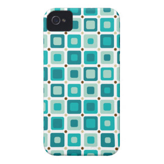 Azul redondo del modelo de los cuadrados iPhone 4 carcasas