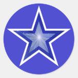 Azul redondo del pegatina de la estrella azul mari