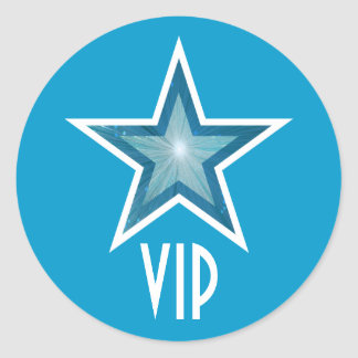 Azul redondo del pegatina del VIP de la estrella
