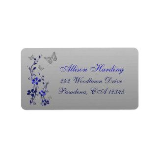 Azul remite floral de la mariposa de los gris pla etiqueta de dirección