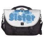 Azul retro 2 de las flores de la hermana grande bolsa de ordenador