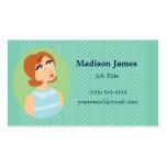 Azul retro del chica plantilla de tarjeta de negocio