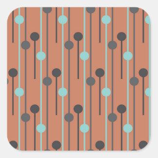 azul retro en los palillos de swizzle de color pegatina cuadrada