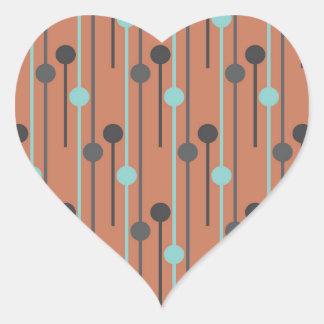 azul retro en los palillos de swizzle de color pegatina en forma de corazón