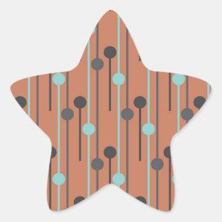 azul retro en los palillos de swizzle de color pegatina en forma de estrella