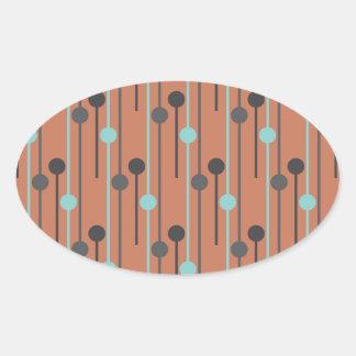 azul retro en los palillos de swizzle de color pegatina ovalada