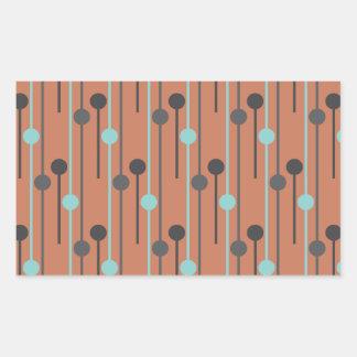 azul retro en los palillos de swizzle de color pegatina rectangular
