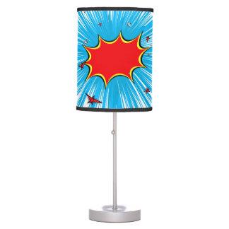 Azul retro y el rojo protagoniza la explosión lámpara de mesa