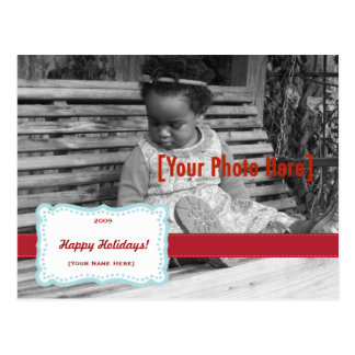 Azul retro y rojo de la postal de la foto de la su