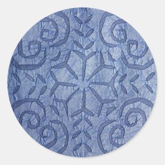 Azul reverso del Applique #1 Pegatina Redonda