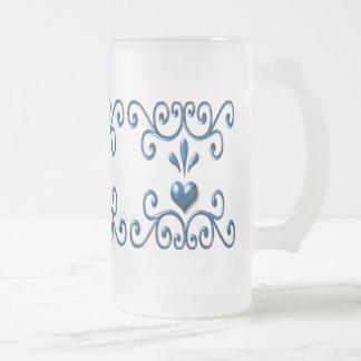 Azul rico enrollado de la taza grande del vidrio