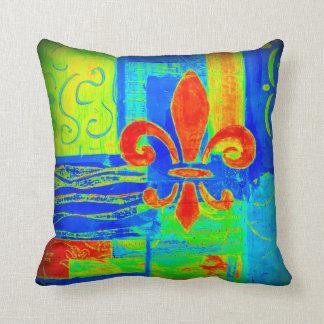 Azul rojo abstracto brillante intrépido de la flor almohada