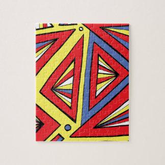 Azul rojo amarillo abstracto lindo fresco de rompecabezas con fotos