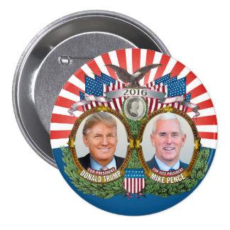 Azul rojo de Donald Trump y de la foto de Jugate Pin Redondo De 3 Pulgadas