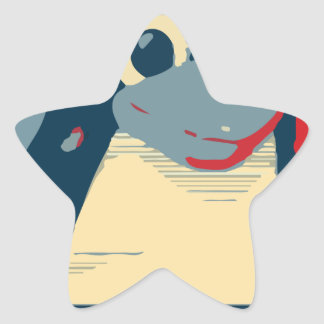 Azul rojo de la cabeza del poster del pingüino de pegatina en forma de estrella