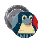 Azul rojo de la cabeza del poster del pingüino de pin redondo 5 cm
