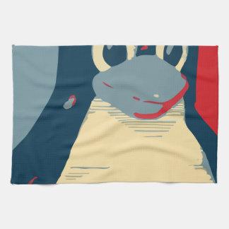 Azul rojo de la cabeza del poster del pingüino de toalla de cocina