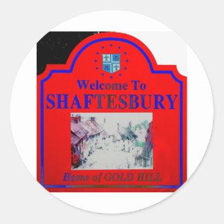 Azul rojo de Shaftesbury Pegatina Redonda