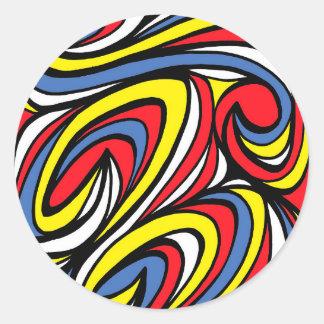 Azul rojo del amarillo abstracto de la expresión pegatina redonda