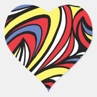 Azul rojo del amarillo abstracto de la expresión pegatina en forma de corazón