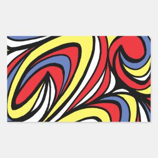 Azul rojo del amarillo abstracto de la expresión pegatina rectangular