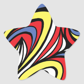 Azul rojo del amarillo abstracto de la expresión pegatina en forma de estrella
