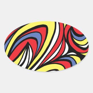 Azul rojo del amarillo abstracto de la expresión pegatina ovalada