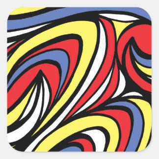 Azul rojo del amarillo abstracto de la expresión pegatina cuadrada