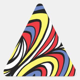 Azul rojo del amarillo abstracto de la expresión pegatina triangular