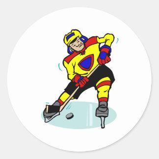 Azul rojo del amarillo del hockey sobre hielo etiqueta redonda