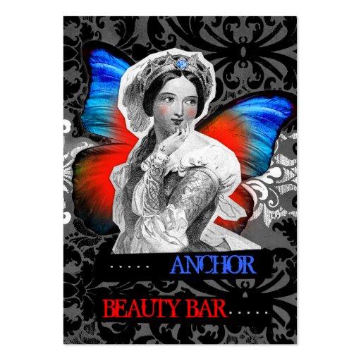 Azul rojo del ancla de la belleza de la mariposa d tarjeta personal
