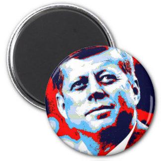 Azul rojo del arte pop JFK John F. Kennedy Imán Redondo 5 Cm