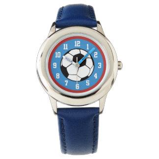 Azul rojo del balón de fútbol relojes de pulsera