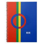Azul rojo del círculo nórdico en el cuaderno de la