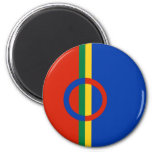 Azul rojo del círculo nórdico en el imán de la ray