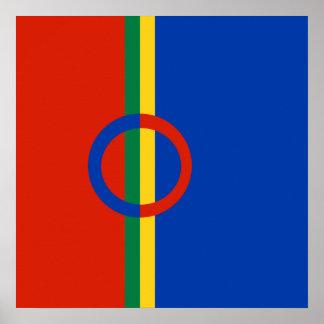 Azul rojo del círculo nórdico en el poster de la