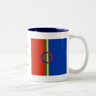 Azul rojo del círculo nórdico en la taza o la taza