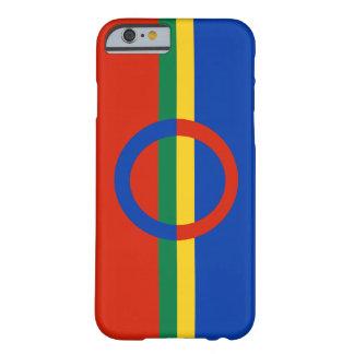Azul rojo del círculo nórdico en raya del color funda de iPhone 6 slim
