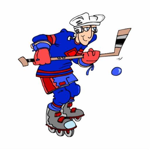 Azul rojo del jugador de hockey fotoescultura vertical